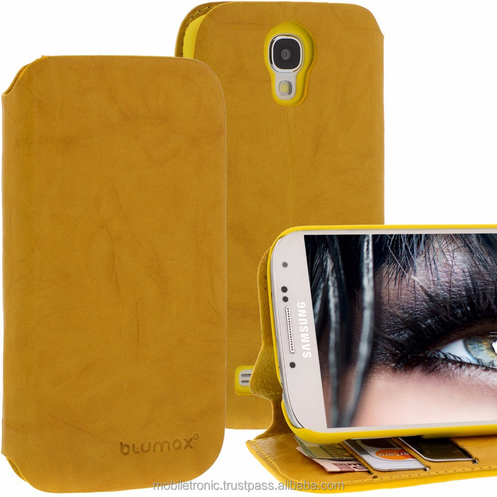 Geniune Leather Lucca Bookstyle case for Samsung Galaxy S4 SIIII i9500 i9505 Washed Yellow Cow Leather