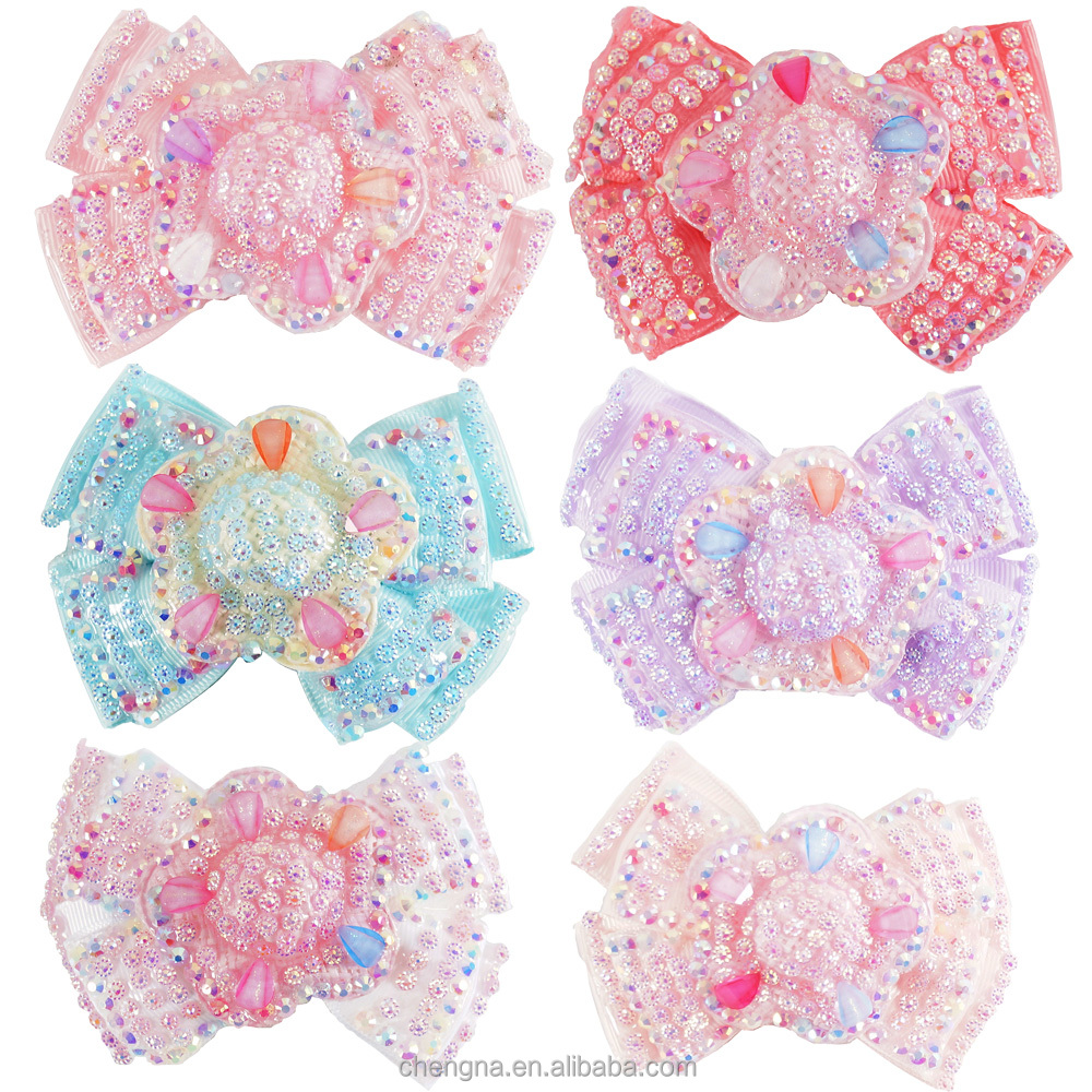 HBW-1603189 Wholesale Grosgrain Ribbon 4 inch Rhinestones Covered Sparkling Double Stacked Girls Hair Bow
