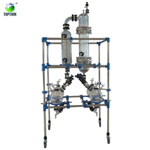 glass reactor continuous stirred tank reactor 50 Double Layer Glass Chemical Reactor with rectification column and condenser