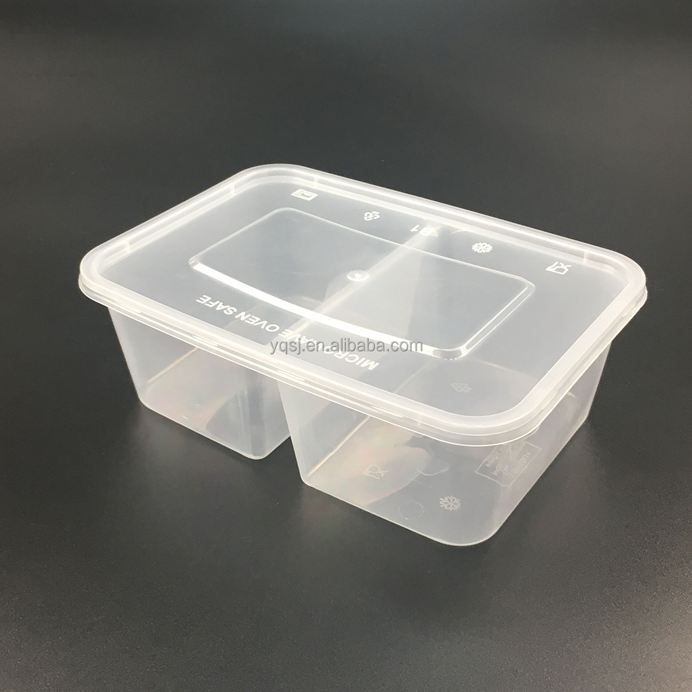 China suppliers 750ml clear plastic cheap food packaging lunchbox 2 compartment