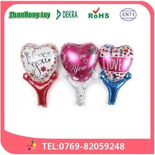 2015 Wholesale high quality heart stick helium foil balloons for wedding decoration