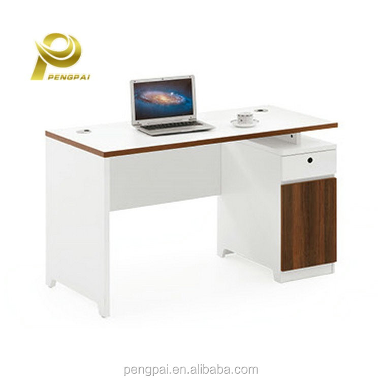 one person modern elegant desk white office boss table with side drawer