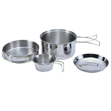 Portable Carrying stainless steel camping cookware set
