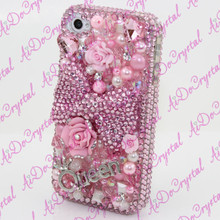 100% Handmade 3D Luxury Crystal Diamond Sparkle Pearl Pink Bow Sweet Design Bling Case For Iphone 5S,5C