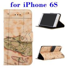 mobile phone case PU Leather leather wallet flip case for iPhone 6S with high quality