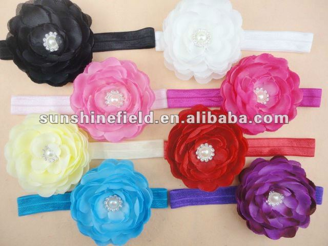 Pearl Alloy Crystal Ranunculus Flowers On Fold Over Shimmer Stretch Headbands