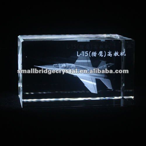 crystal block with 3d laser engraved airplane for home souvenir