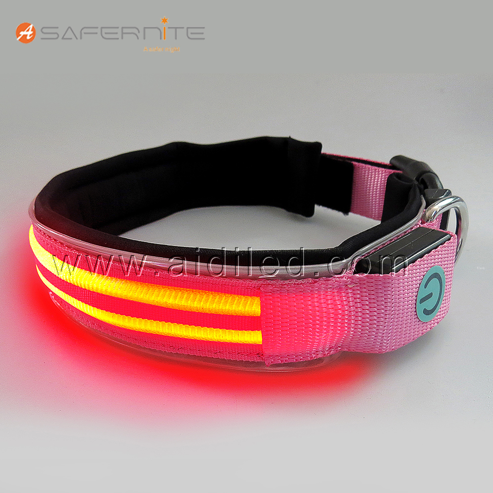 Led nylon dog collar for pet trainig product accessories