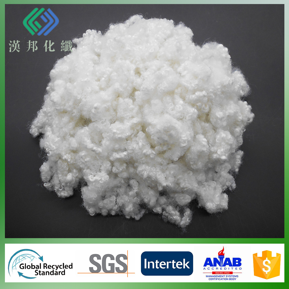 wholesale 15D/64mm mattress fill material semi virgin hollow conjugated Siliconized polyfill