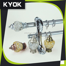 Hot sale European double metal curtain rod/pipe ,fancy resin/crystle curtain rod finial