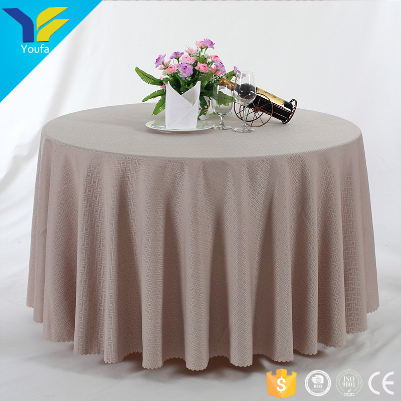 Wholesale durable sttiching jacquard fabric cheap round wedding 100% polyester tablecloth