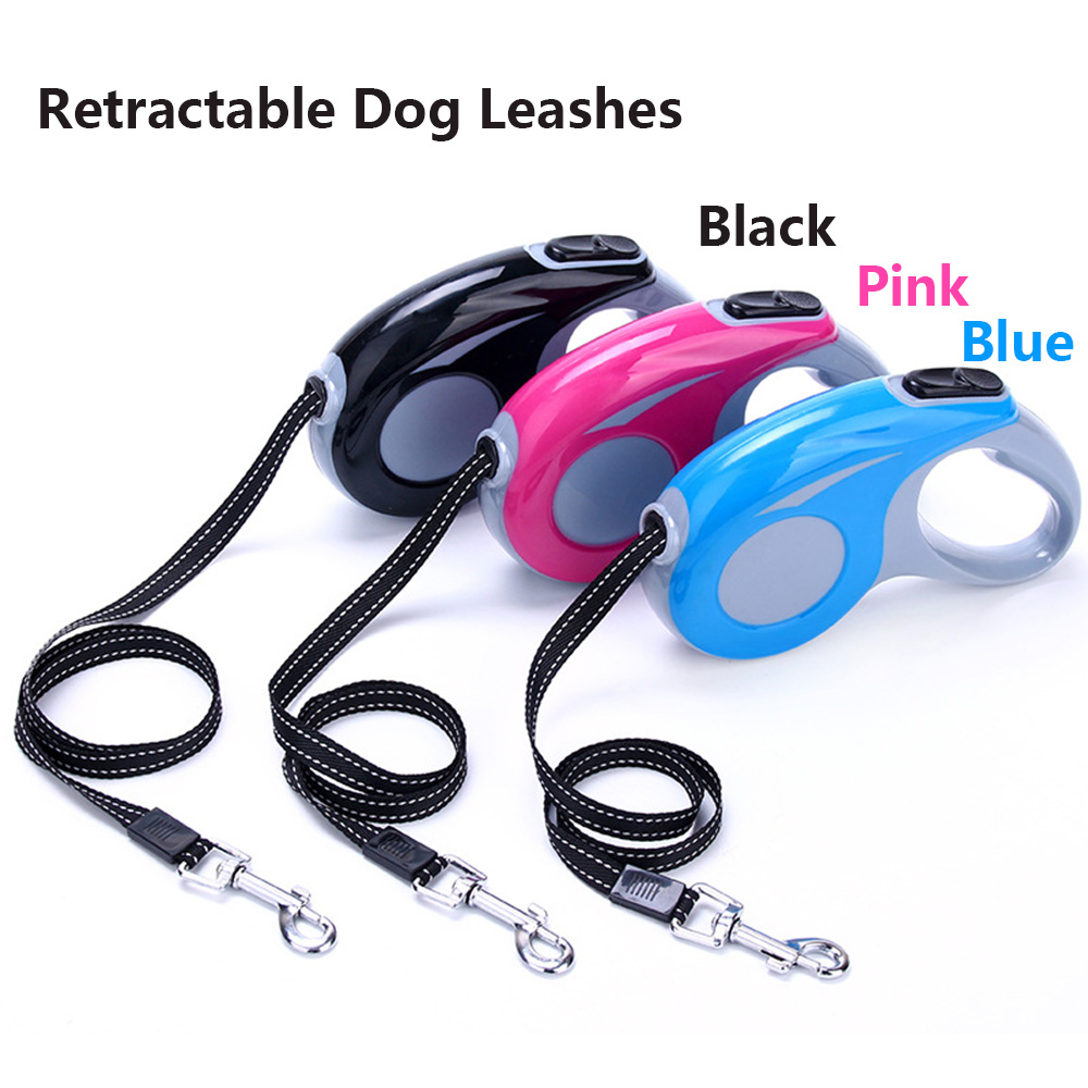 Durable 3 Meters 5Meters Three Colors Retractable Dog Leash Lead Retractable Automatic Dog Leash Smart Puppy Leads For 20kg Dog
