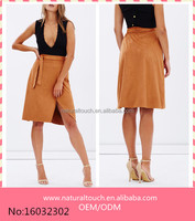 2016 New Arrived Suede-look Wrap Mini Skirt With Self-tie Waistband