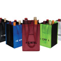 Customized colors with front pocket 90gsm 4 bottles non woven wine bottle bag