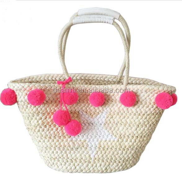 DEMIZXX044 Summer Shopping Bucket Straw Green and Red Ball Comfortable Beach <strong>totes</strong>