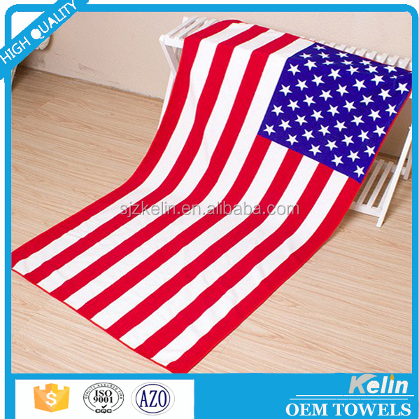 Factory custom reeactive printed flag beach towel for promotional