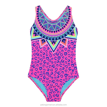 classic leopard print neck contrasting Aztec-inspired design yong girls swimwear 7-16