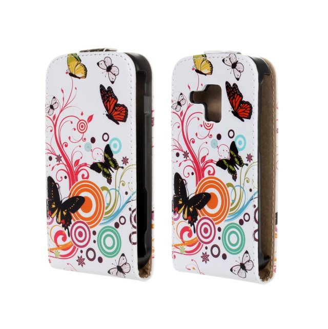 Flower Butterfly Printing Patterns Flip Leather Case Cover For Samsung Galaxy S Duos S7562