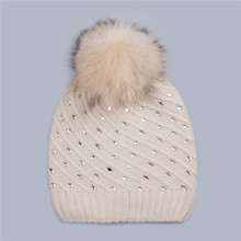 Keep warm winter hat with fur pom poms women's knit hat with ball top unique winter hats