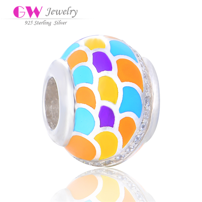 D176 wholesale 925 silver colorful enamel charms,DIY bracelet charm beads for kids