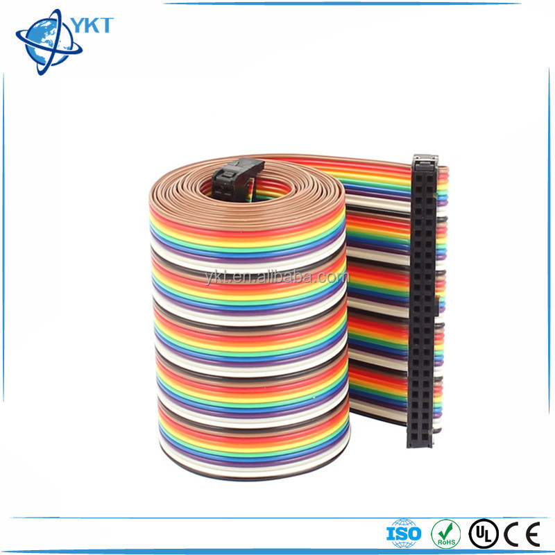 40 Pin 40 Way F/F Connector IDC Flat Rainbow Ribbon Cable 2.54mm