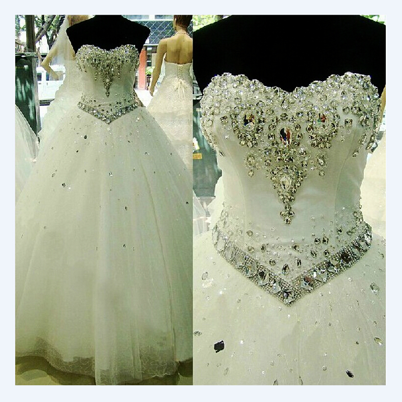 NE031 2017 Bling Hot Sale High Quality White Wedding Dress Vestido Luxury Crystal Vestidos Vintage Belt Plus Size Ball Gown
