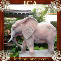 Garden Red Marble Animal Elephant Statue
