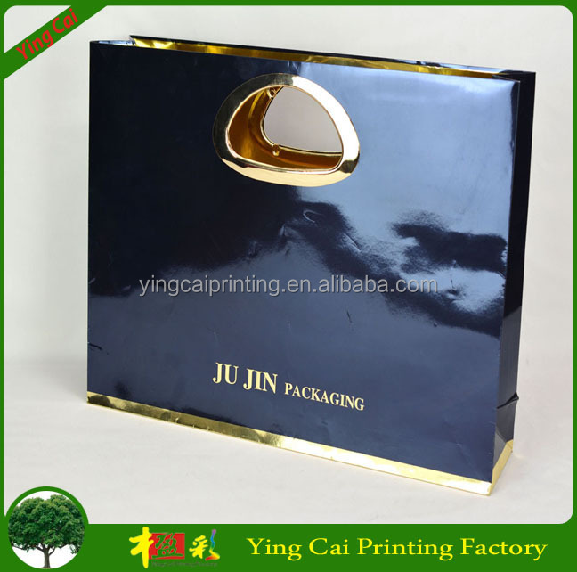 Golssy black laminated Luxury high quality branded retail paper bag /shopping bag with fast delivery