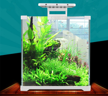 SUNSUN portable aquariums mini eye-catching curved glass fish tank with LED light