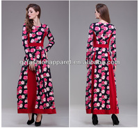 women flowers red evening dress with long sleeve
