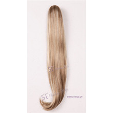 ST wholesale synthetic hair long straight blonde Europe hair extensions for ponytail