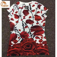 New design 3D printing pure cotton T-shirt for ladies