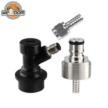 "Stainless Ball Lock Carbonater Carbonation Cap For Soda Bottles Carbonator- Liquid Ball Lock Disconnect -1/4""MFL"
