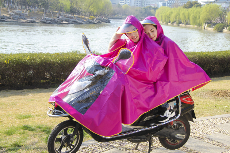 Adult motorbike rain ponchos manufacturer Knitting oxford Double poncho with hood