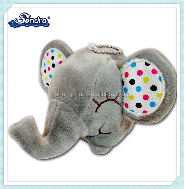 3inch New Cute Stuffed Animals Soft Plush Gray Elephant Baby Keychain with Polka Dot Ear