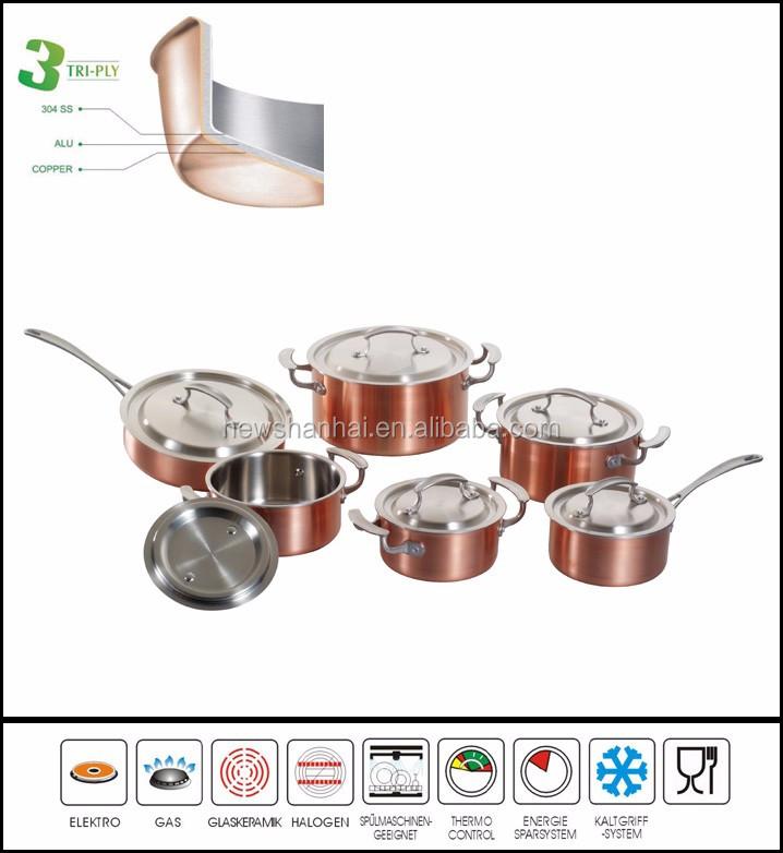 3ply plaqu de cuivre en acier inoxydable en gros for Ustensiles de cuisine en cuivre