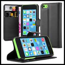 Wallet Leather Moblie Phone Case Cover with Card Slots for Apple iPhone 5C