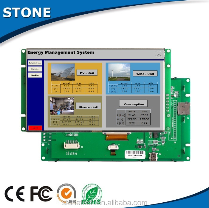 "advanced wireless 7"" 800x480 tft lcd display with plc hmi for inventory management"