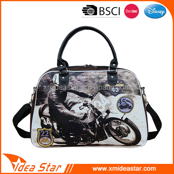 PU leather cool motorcycle picture print modern travel bag
