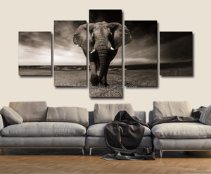 5 panel printed canvas art elephant wall art
