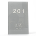 Gray Color Crystal Glass for Hotel Doorplate Doorbell Solution with Customized White LED Display