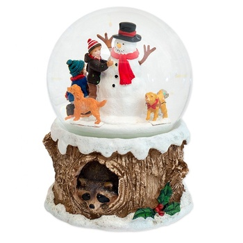 Polyresin customized hand-making home decoration spaniels and children holiday customized musical water globe