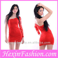 Wholesale Red Lace Latest Casual Dress Designs of Winter