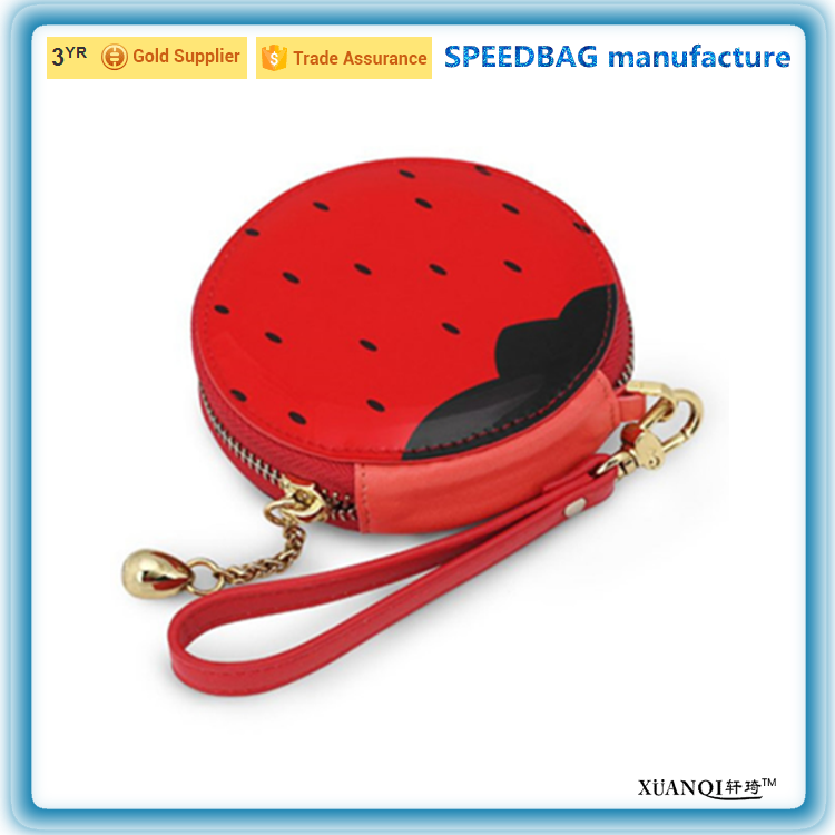 custom hot sale kids fruit type protable zero wallet round zipper PU coin purse
