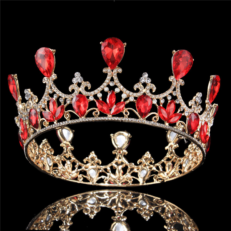 Luxury Silver/Gold Plated Royal Regal Sparkly Rhinestones Crystal Crown Tiaras And Crowns Bridal Hair