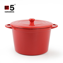 Red outer black inner round stoneware pot cookware set with thin lid
