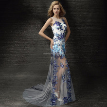 Blue sleeveless noble sexy wedding dresses evening gown party dress club show wear