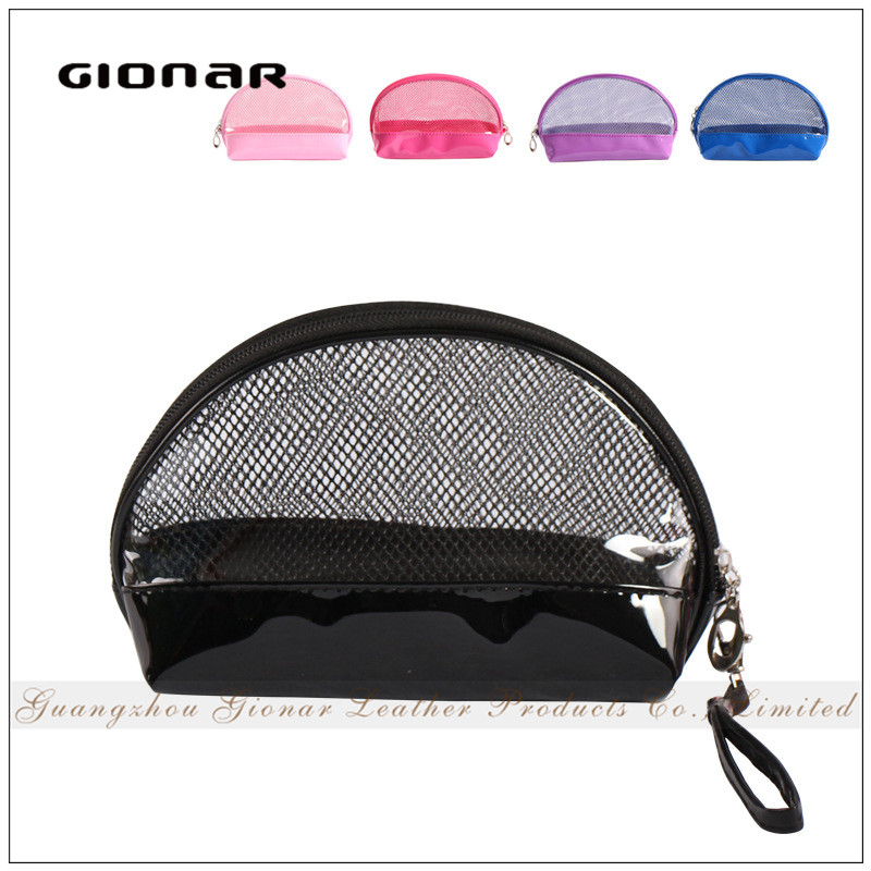 Fashion Mini Small Wristlet Mesh Transparent Clear PVC Cosmetic Bag