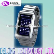 fashion zinc alloy plated with silver led flashing watches