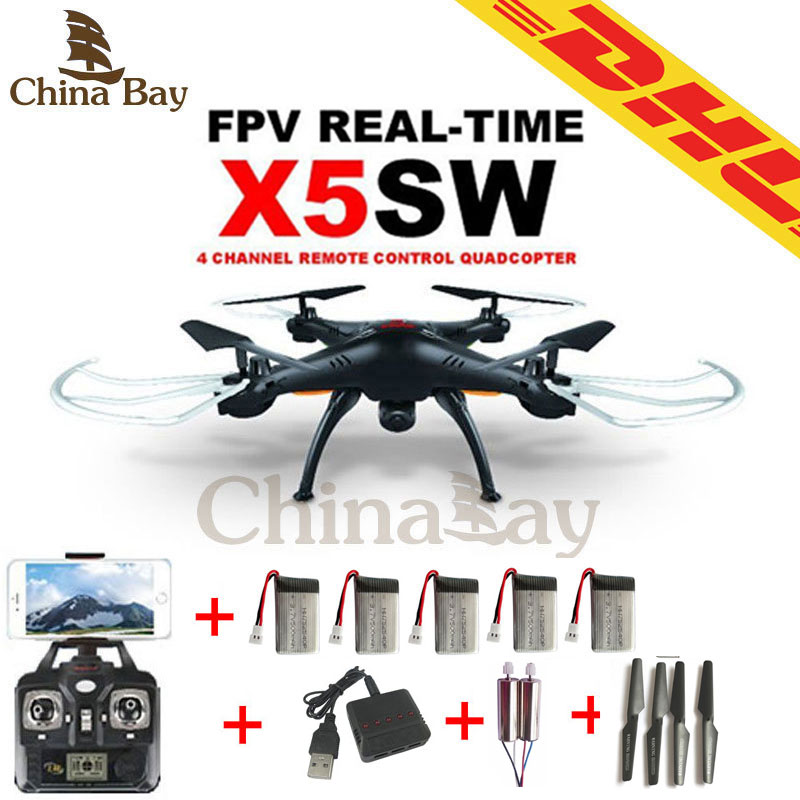SYMA X5sw &X5C WIFI RC Drone FPV Quadcopter With 2MP Camera 2.4G 6-Axis Helicopter Toys with 5 batterys 2 motors and charger